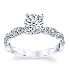 Divine 18k White Gold Diamond Engagement Ring Setting 1/5 ct. tw.