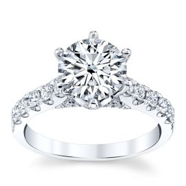 Divine 18k White Gold Diamond Engagement Ring Setting 1/2 ct. tw.