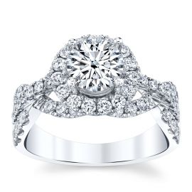 Divine 18k White Gold Diamond Engagement Ring Setting 7/8 ct. tw.