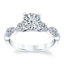 Divine 18k White Gold Diamond Engagement Ring Setting 1/3 ct. tw.