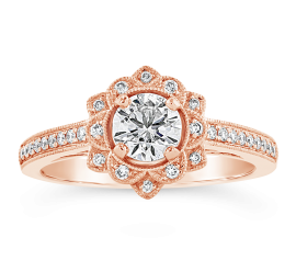 Utwo 14k Rose Gold Diamond Engagement Ring 5/8 ct. tw.