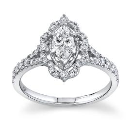 Poem 14Kt White Gold Diamond Engagement Ring 3/4 cttw