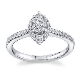 Cherish 14Kt White Gold Diamond Engagement Ring 1/2 cttw