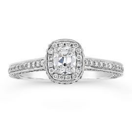 Henri Daussi 18k White Gold Diamond Engagement Ring 5/8 ct. tw.