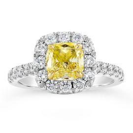 Henri Daussi 18k White Gold and 18k Yellow Gold Diamond Engagement Ring 7/8 ct. tw.