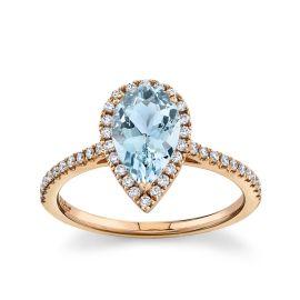 Blossom Bridal 14Kt Rose Gold Aquamarine Diamond Engagement Ring  1/4 cttw