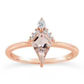 Blossom Bridal 14k Rose Gold Morganite Diamond Engagement Ring .06 ct. tw.