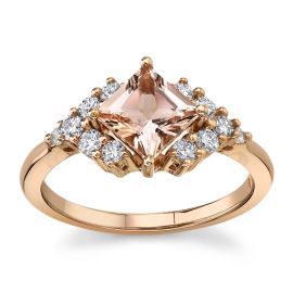 Blossom Bridal 14Kt Rose Gold Morganite Diamond Engagement Ring  1/3 cttw