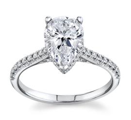 Simon G. 18Kt White Gold Diamond Engagement Ring Setting 1/4 cttw