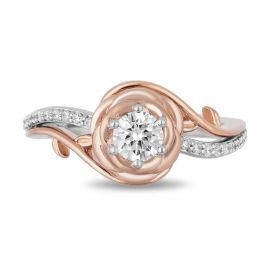 Enchanted Disney 14k White Gold and 14k Rose Gold Diamond Engagement Ring 5/8 ct. tw.
