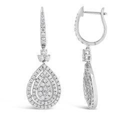 14k White Gold Earrings 1 1/2 ct. tw.