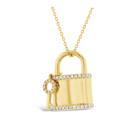 Shy Creation 14k Yellow Gold Lock And Key Pendant 1/5 ct. tw.