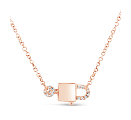 Shy Creation 14k Rose Gold Lock And Key Pendant .03 ct. tw.