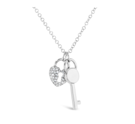Shy Creation 14k White Gold Lock And Key Pendant .08 ct. tw.