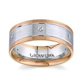 Gravure 14k White Gold And 14k Rose Gold 8mm Diamond Wedding Band  .06 ctw
