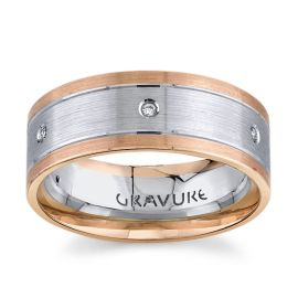 14Kt White Gold and 14Kt Rose Gold - .06 cttw