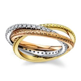 Gravure 14Kt White Gold and 14Kt Yellow Gold and 14Kt Rose Gold Diamond Wedding Band 3/8 cttw