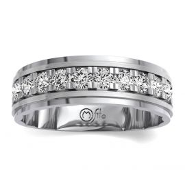 MFit 14Kt White Gold Diamond Wedding Band 2 cttw