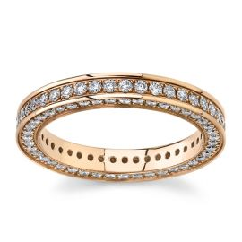 Gravure 14Kt Rose Gold Diamond Wedding Band 1 cttw