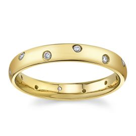 Gravure 14Kt Yellow Gold Diamond Wedding Band 1/10 cttw