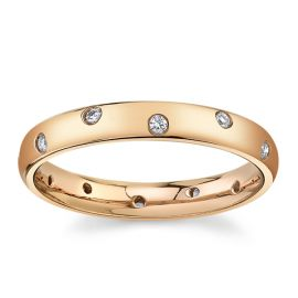 Gravure 14Kt Rose Gold Diamond Wedding Band 1/10 cttw