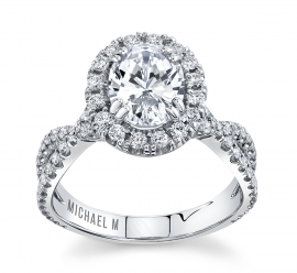 Michael M. 18Kt White Gold Diamond Engagement Ring Setting 5/8 cttw