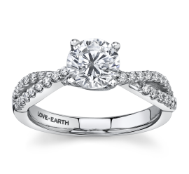 Love Earth 14Kt White Gold Diamond Engagement Ring Setting 1/4 ct. tw