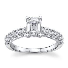 Poem 14Kt White Gold Diamond Engagement Ring  1 3/8 cttw