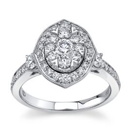 Mosaic Collection 14Kt White Gold Diamond Engagement Ring  1 1/4 cttw