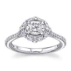 Poem 14Kt White Gold Diamond Engagement Ring  1 cttw