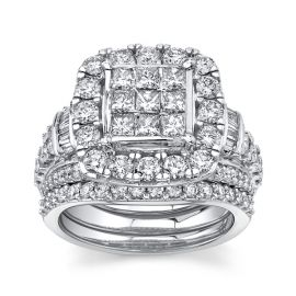 Mosaic Collection 14Kt White Gold Diamond Wedding Set 3 cttw