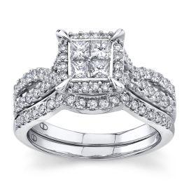 Mosaic Collection 14Kt White Gold Diamond Wedding Set 1 cttw