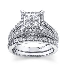 Mosaic Collection 14Kt White Gold Diamond Wedding Set 1 1/2 cttw