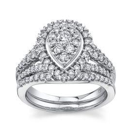 Mosaic Collection 14Kt White Gold Diamond Wedding Set 1 1/4 cttw