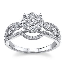 Mosaic Collection 14Kt White Gold Diamond Engagement Ring  1 cttw