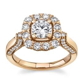 Eternalle Lab-Grown 14Kt Rose Gold Diamond Engagement Ring  1 1/2 cttw