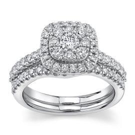 Eternalle Lab-Grown 14Kt White Gold Diamond Wedding Set 1 cttw