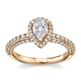 Poem 14Kt Rose Gold Diamond Engagement Ring  1 cttw