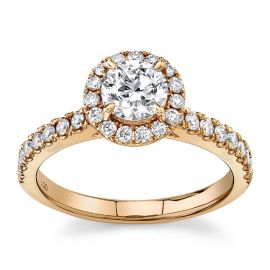 Eternalle Lab-Grown 14Kt Rose Gold Diamond Engagement Ring  1 cttw