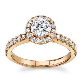 Eternalle Lab-Grown 14Kt Rose Gold Diamond Engagement Ring  1 cttw