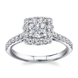 Poem 14Kt White Gold Diamond Engagement Ring  1 1/3 cttw