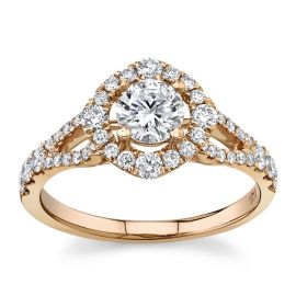 Utwo 14Kt Rose Gold Diamond Engagement Ring  1 cttw