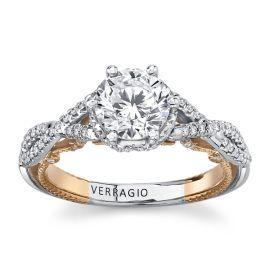 Verragio 18Kt White Gold & 18Kt Rose Gold Diamond Engagement Ring Setting 1/3 cttw