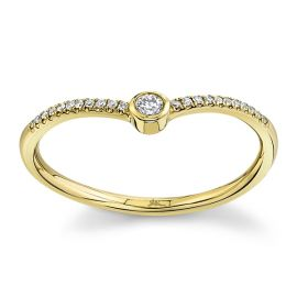 Shy Creation 14Kt Yellow Gold Diamond Wedding Ring .07 cttw