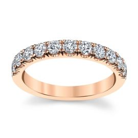 Suns and Roses 14k Rose Gold Diamond Wedding Band 3/4 ct. tw.