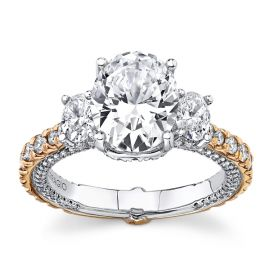 Verragio 18Kt White Gold and 18Kt Rose Gold Diamond Engagement Ring Setting 1 1/3 cttw