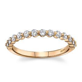 Henri Daussi 14Kt Rose Gold Diamond Wedding Band 3/8 cttw