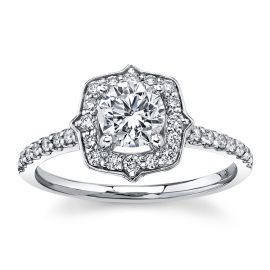 Utwo 14Kt White Gold Diamond Engagement Ring 1 cttw