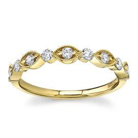 Henri Daussi 18Kt Yellow Gold Diamond Wedding Band 1/3 cttw