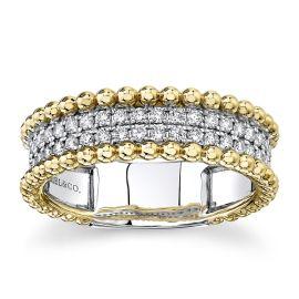 Gabriel & Co. 14k White Gold and 14k Yellow Gold Diamond Wedding Band 3/8 ct. tw.
